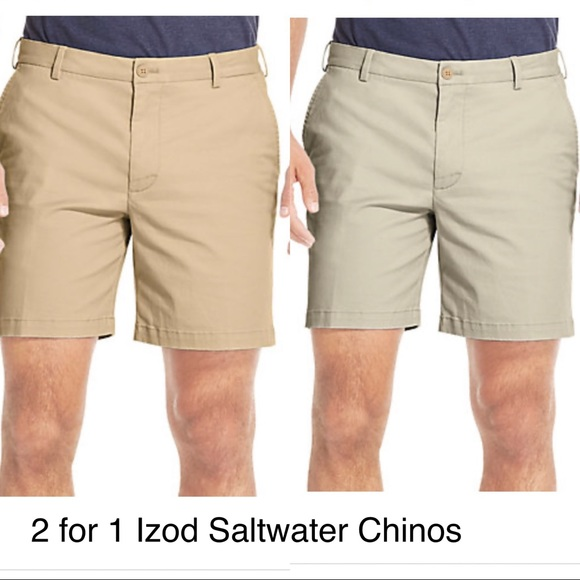 NEW IZOD Saltwater Mens Relaxed Classic Stretch Washed Chino Shorts Size 32 GRAY